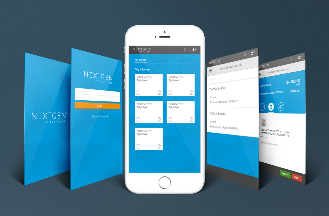 NextGen Healthcare Success Community Portal app screens