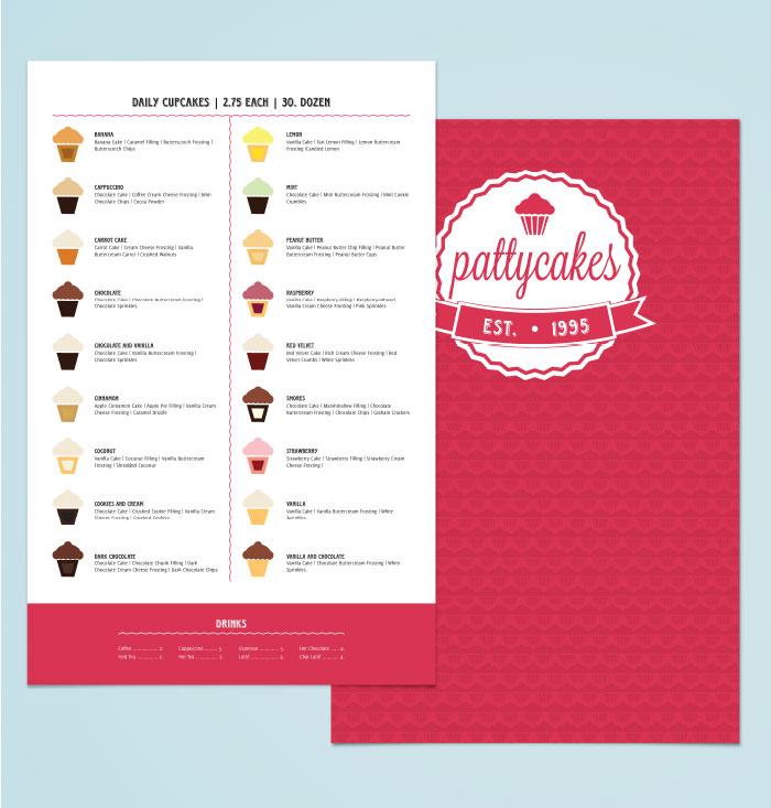 Patty Cakes Menu