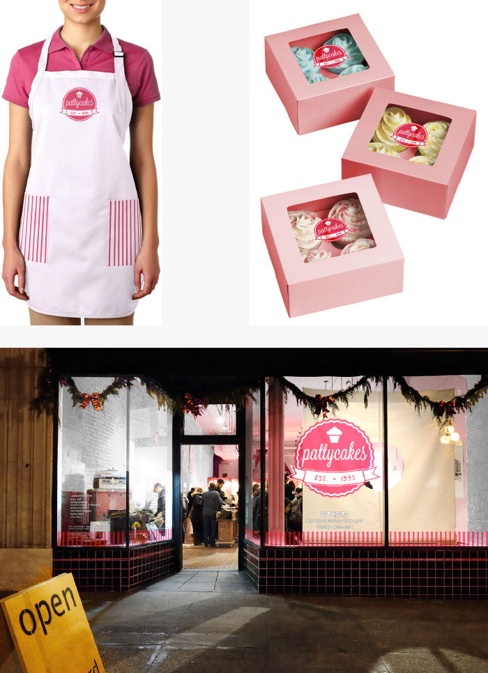 Patty Cakes apron, packaging, and storefront